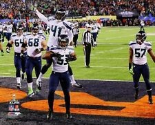 2014 Super Bowl XLVIII MALCOLM SMITH INT-->TD pick-6 Seattle Seahawks 8x10 photo