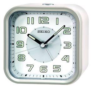 [Seiko] Wecker QHE128A Alarm Clock Quiet Sweep+Free Ship~100% AUTHENTIC,silver