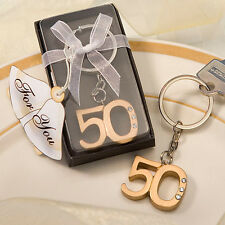 50 Gold 50th Anniversary Key Chain Ring Anniversary Party Favor Bulk Lot