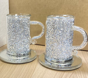 4pc Set Crushed Diamond Crystal Mug Tea Coffee Cup And Coaster