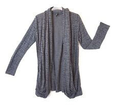 M&S Grey Burnout Effect Long Sleeved Open Drape Front Cardigan Lagenlook Size 14