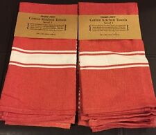 Trader Joe's red  KITCHEN COTTON TOWELS -2 SET OF 3 -17 in X 24 in Towels-new