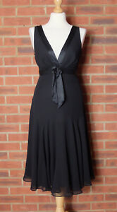 TED BAKER Black Silk Occasion Dress Fit And Flare Size 2 UK 10