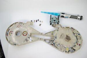 Vintage Galoob Micro Wars Lot Millennium Falcon/ Figures Plus Light Saber/ Ship