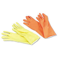 Boardwalk Flock-Lined Latex Cleaning Gloves X-Large Yellow 12 Pairs 242XL