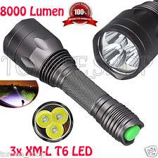 8000Lm Fackel Lampe 3x CREE XM-L T6 LED 18650 Taschenlampen 5-Modus Stablampe