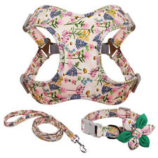 Floral Pet Dog Collar and Leash Soft Dog Step-In Vest Harness and Walking Lead