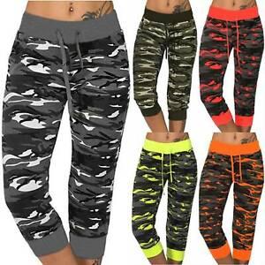 Lady Capri Pants Elastic Drawstring Waist Camouflage Crop Bottoms SportsTrousers