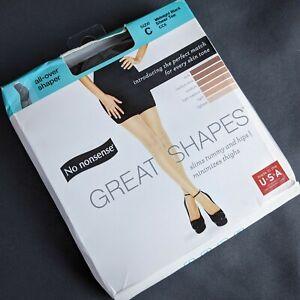 No Nonsense Great Shapes Pantyhose Size C Midnight Black Sheer Toe Shaper NEW