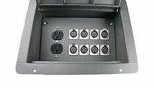 Stage Recessed Pocket Floor Box w/AC Duplex Outlet & 8 Female XLR Mic Connectors