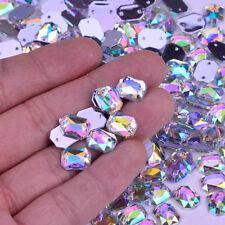10*14mm Rectangular claro AB Dorso Plano Pedrería De Costura Coser en cristales de 25 piezas