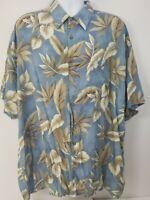 Campia Moda Men's Shirt Sz 3XL Blue Tan Hawaiian Leaves Tropical Button Down