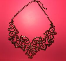 GOLD-TONE STAINLESS STEEL GOLD BRANCH BIB NECKLACE WITH LOBSTER CLAW CLASP