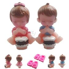2pcs Gril&Boy Wish Soap Molds Candle Fondant 3D Cake DIY Silicone Mould Party