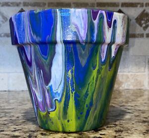 Clay Terracotta Flower PotAcrylic Fluid Pour Art Painted Blue Green Purple