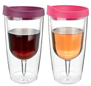 Vino Vaso Aislante Vino Doble Pared Merlot Rosa Bebida Tapa 2Go 296ml Par