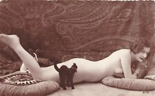 RPPC 1910s French Risque Nude breasts FLAPPER  Lady and Toy Cat