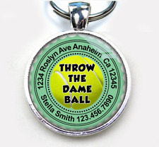 Throw the Dame Ball aqua Custom cute funny 11 colors pet dog cat tag id