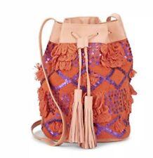 NEW Antik Batik Sequin Drawstring Bucket Bag W  Leather Trim Orange Handbag  Tote cef7f223d8a