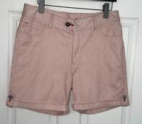 Wrangler Sz 12 Red White Railroad Stripe Cotton Cuffed Flat Front Shorts EUC