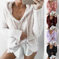 Damen Kapuzenpullover Sweatshirt Hoodie Kapuze Sweater Pulli Plüsch Oberteil