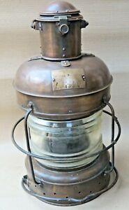 1959 MARINE NAUTICAL BRASS LAMP NIPPON SENTO MARK NOT UNDER COMMAND LIGHT JAPAN