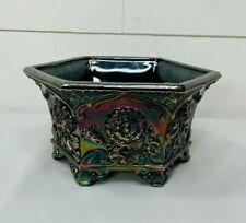 Fenton Carnival Glass Amethyst Hexagon Planter Bowl Embossed Flower Design Art