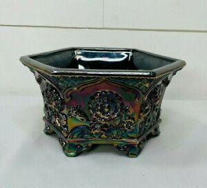 Fenton Carnival Glass Amethyst Hexagon Planter Bowl Embossed Flower Design
