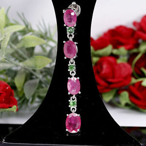 NATURAL 6 X 8 mm. RED RUBY, TOURMALINE & CZ LONG PENDANT 925 STERLING SILVER