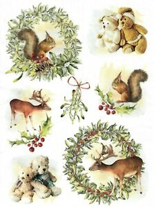 Rice Paper for Decoupage Scrapbook Craft Animals Teddy 162