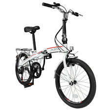 "Xspec 20"" 7 Speed City Folding Mini Compact Bike Bicycle  Commuter  White"
