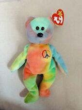Stunning 🔥👀 Peace Bear Ty Beanie Baby - Retired Original 1996 with Rare Errors