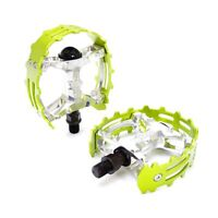 """Old school BMX XC-II Wellgo bear trap pedals 9/16"""" FOR 3 PIECE CRANKS Green Cage"""