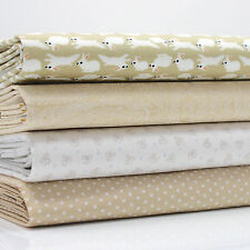 4 FQ Bundle BEIGE & IVORY NOVELTY RABBITS DOTS ETC  cotton fabric #8