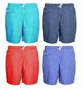 Men's Striped Holiday Swim Shorts Mesh Lining Pockets Drawstring Elastic Waist