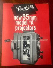 Century A SA DAW Sales Brochure Mid 70's Film Movie Projector Cinema Theater