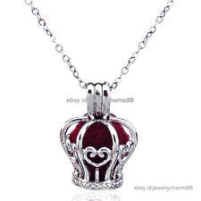 K32 Silver Princess Crown Diffuser Locket Necklace Pearl Beads Cage Steel Chain