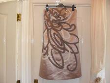 M & CO Boutique Beige Appliqued Strapless Dress - Size 12 - BNWT