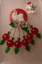 ARTIST MADE BROOCH RED BAKELITE POKER CHIP LUCITE Bichon Frise Dog CHERRY PIN
