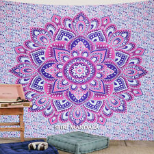 Pink Purple Lotus Mandala Tapestry King Size Hippie Wall Hanging Wall Tapestry