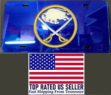 Buffalo Sabres Logo Mirrored Field w/ Large Logo Laser Carved License Plate NHL