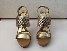 Coach Steffi Mirror Metallic Q1861 Dark Gold Leather Sandal Strap HEELS 7m
