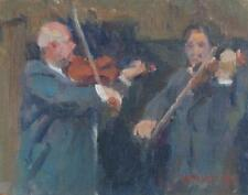 Impressionist Oil on Board of Two Violin Players by Listed artist Susan Grisell