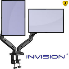 """Dual Monitor Mount Arm Ergonomic Height-Assisted Gas Powered for 17–27"""" Screens"""
