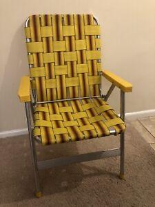 Vintage Retro Aluminum Folding Chair Beach Lawn Patio Webbed Strap Yellow Brown