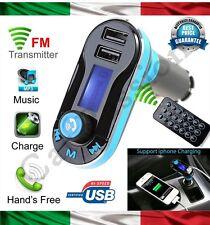 kit VIVAVOCE BLUETOOTH AUTO CELLULARE SMARTPHONE LETTORE MP3 USB RICARICA blu