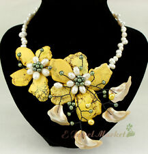 N12091311 yellow turquoise white FW Baroque pearl flower necklace earrings Set
