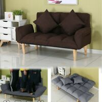 SLEEPER SOFA BED Convertible Couch Modern Living Room Futon Loveseat+2 Pillows