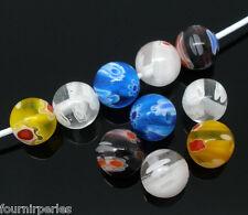50 Mixte Perles Lampwork Verre Rond Millefiori 8mm