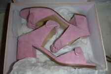 NEW DESIGNER Ivanka Trump Pink Suede Leather ERIA Bow Tie Sandals Sz 7.5M